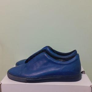 💯%Leathr RoyalBlue OxfordSneakr W8 md.in Italy